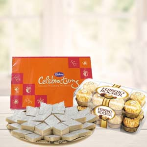 Ferrero Rocher Combo With Celebrations: Gift Baskheda,  Bhopal