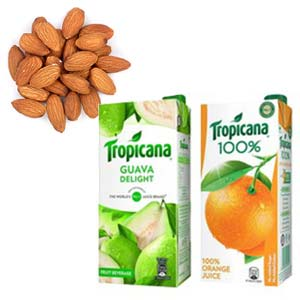 Dry Fruits With Tropicana Combos: Gifts For Sister Arhedi,  Bhopal
