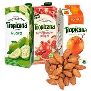 Tropicana Juice Combo With Dry Fruits: Gifts For Boyfriend Suraj Nagar,  Bhopal