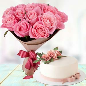 Pink Roses With Cream Cake: Gifts For Brother Parewa Kheda,  Bhopal