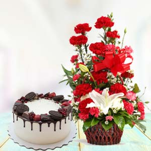 Red Carnations With Oreo Cake: Gift Chuna Bhatti,  Bhopal