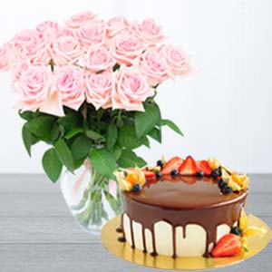 Pink Roses With Chocolate Fruit Cake: Gifts For Brother Bhauri,  Bhopal
