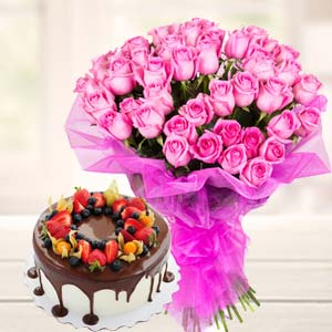 Chocolate Fruit Cake With Pink Roses: Rakhi Bhel,  Bhopal