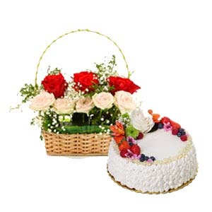 Mix Roses With Fruit Cake: Valentine's Day Flowers Bda Colony,  Bhopal