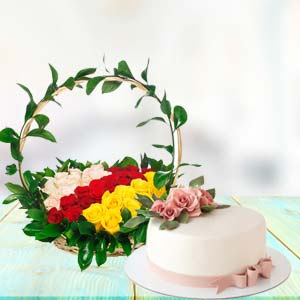 Mix Roses With Cake Combo: Mothers-day-flowers-cakes  Bhopal