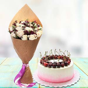 White Roses With Cherry Cake: Gifts For Brother Chichli,  Bhopal