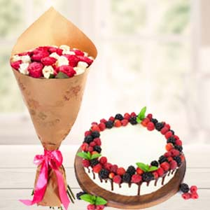 Mix Roses With Cherry Fruit Cake: Valentine's Day Flowers Maksi,  Bhopal