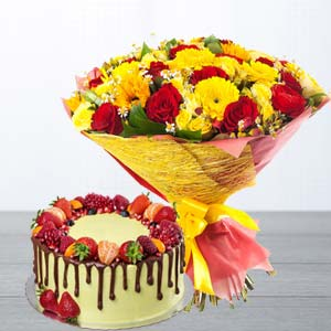 Mix Roses With Butterscotch Fruit Cake: Anniversary-flowers-&-cake  Bhopal
