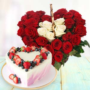 Heart Shaped Combo Gifts: Valentine's Day Flowers Kopal,  Bhopal