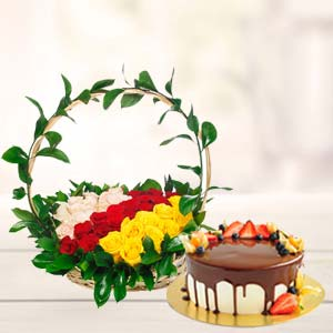 Chocolate Fruit Cake With Roses Basket: Valentine Gifts For Husband Shyampur,  Bhopal