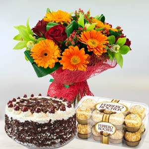 Mixed Flowers Combo: Valentine's Day Chocolates Kopal,  Bhopal
