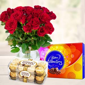 Red Roses With Chocolate Gifts: Gifts For Boyfriend Jp Nagar,  Bhopal
