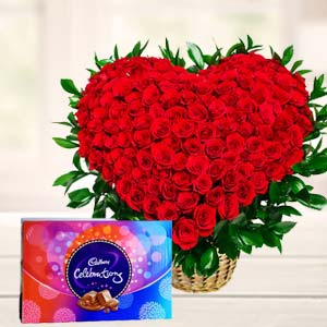 Red Roses With Chocolate Gifts: Gifts For Brother Chichli,  Bhopal