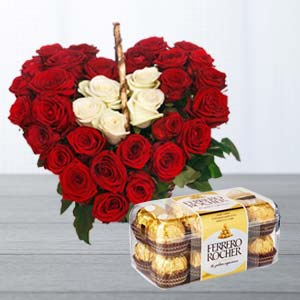 Roses Arrangement With Ferrero Rocher: Gifts For Wife Idgah Hills,  Bhopal