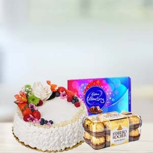 Fruit Cake With Chocolates Combo: Gift Krishna Nagar,  Bhopal