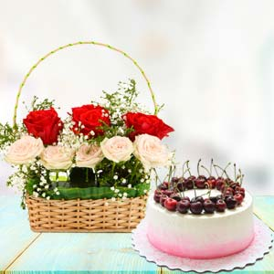 Flowers With Cherry Cake: Gifts For Him  Bhopal