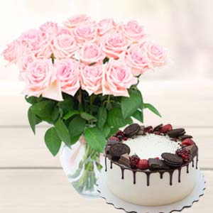 Flowers With Oreo Cake: Rose Day Kurana,  Bhopal