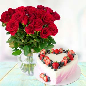 Flowers With Heart Shape Cake: Gift Bharkheda Bondar,  Bhopal
