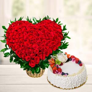 Flowers With Fresh Fruit Cake: Gift Dobra,  Bhopal