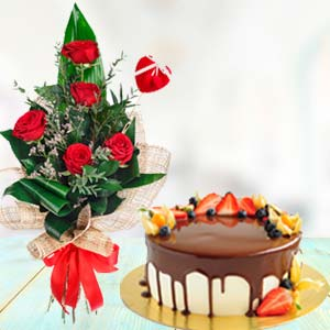 Flowers With Chocolate Fruit Cake: Hug Day Kal Khedi,  Bhopal