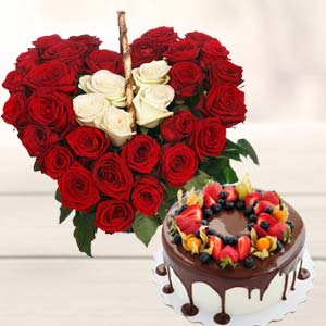 Heart Shape Arrangement With Cake: Gift Sikandrabad,  Bhopal