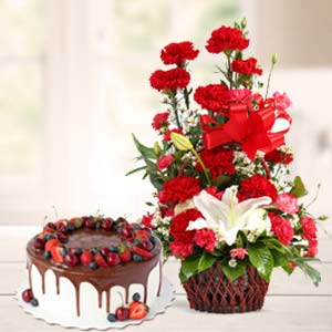 Carnations With Chocolate Cake: Gifts For Brother Chichli,  Bhopal