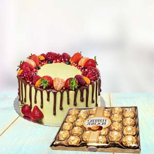 Fruit Cake With Yummy Chocolates: Gifts Neelbad,  Bhopal