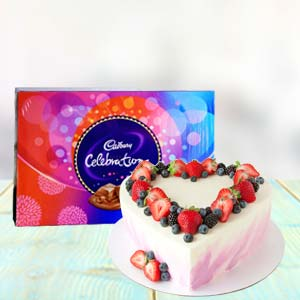 Heart Shape Cake Combo With Chocolates: Rakhi Bhel,  Bhopal