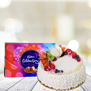 Cake With Celebration Chocolates: Gifts For Her  Bhopal
