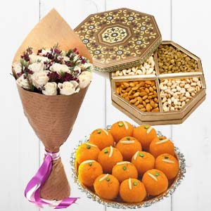 Flower With Dry Fruits And Sweets: Gifts For Him Kahna Sayiya,  Bhopal
