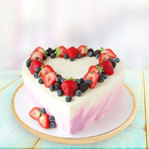 Heart Shape Fruit Cake: Valentine's Day Gifts For Girlfriend Baskheda,  Bhopal