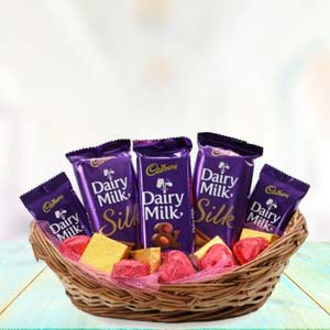 Dairy Silk Chocolate Basket: Valentine's Day Baskheda,  Bhopal